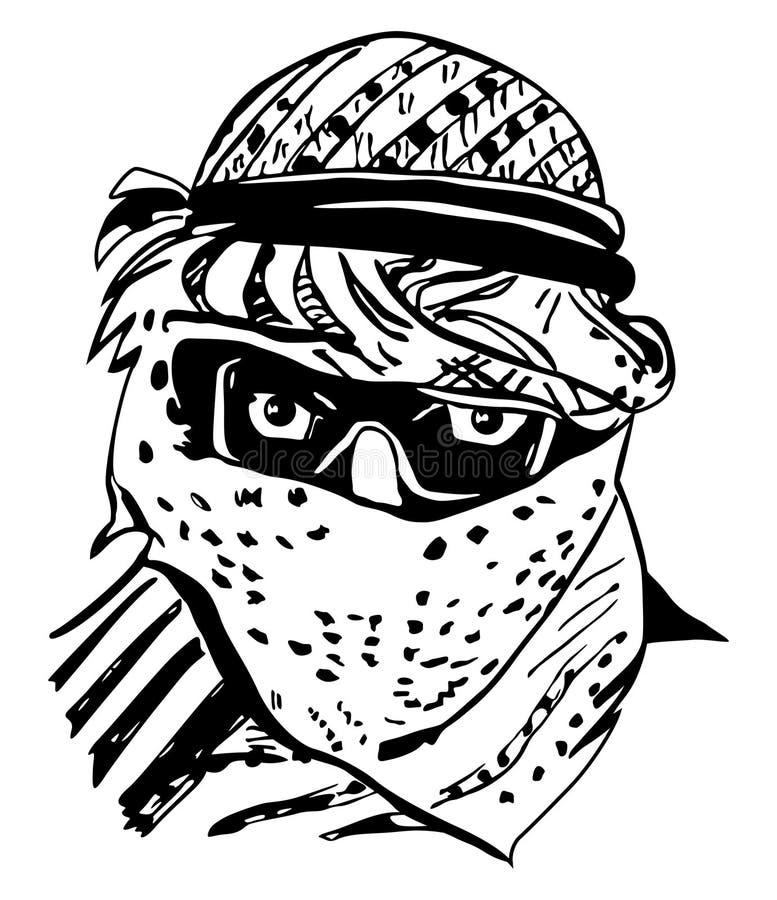 Homem na mantilha árabe tradicional, keffiyeh ilustração royalty free