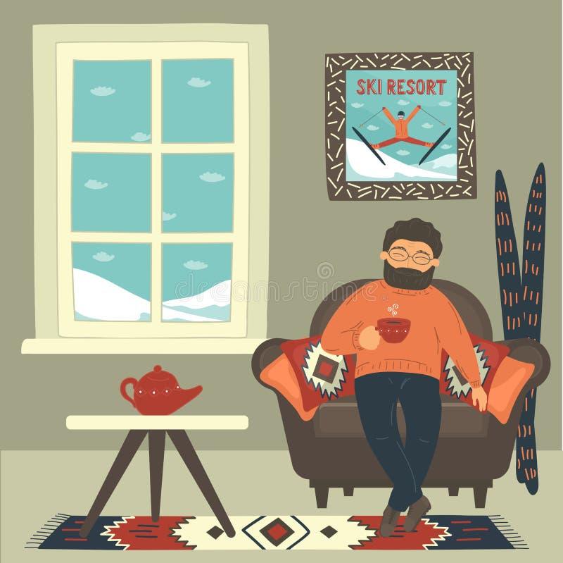 Homem na poltrona acolhedor que bebe o chá quente na sala perto da janela na estância de esqui ilustração stock