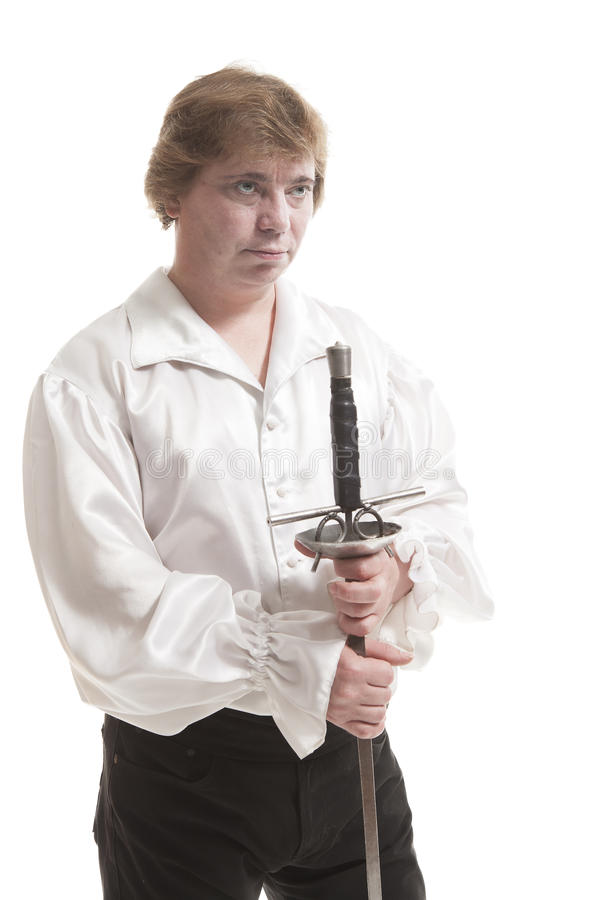 Homem na roupa medieval com espada imagens de stock