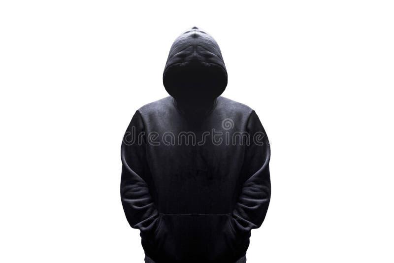 Homem na silhueta da capa imagens de stock