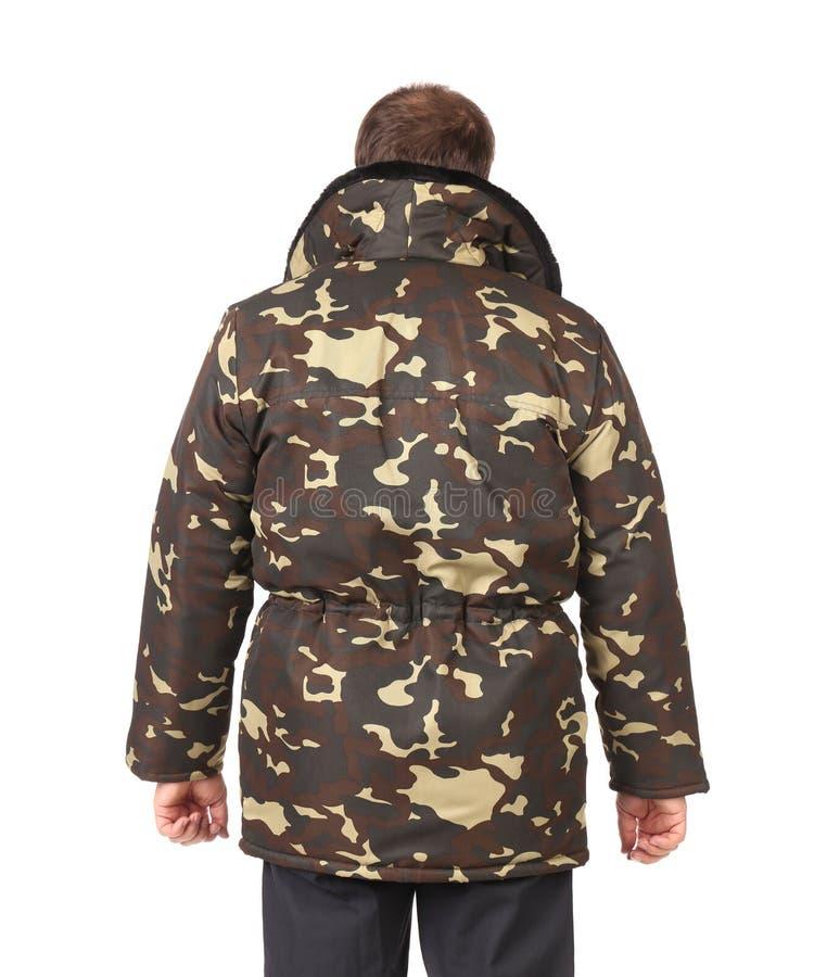 Homem na veste das forças armadas. Vista traseira. fotografia de stock royalty free