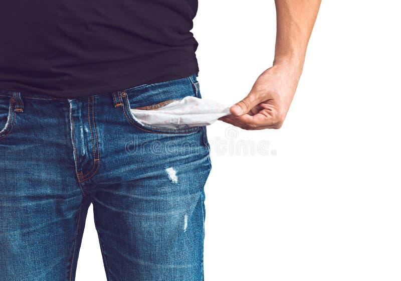 Homem nas calças de brim com bolso vazio foto de stock royalty free