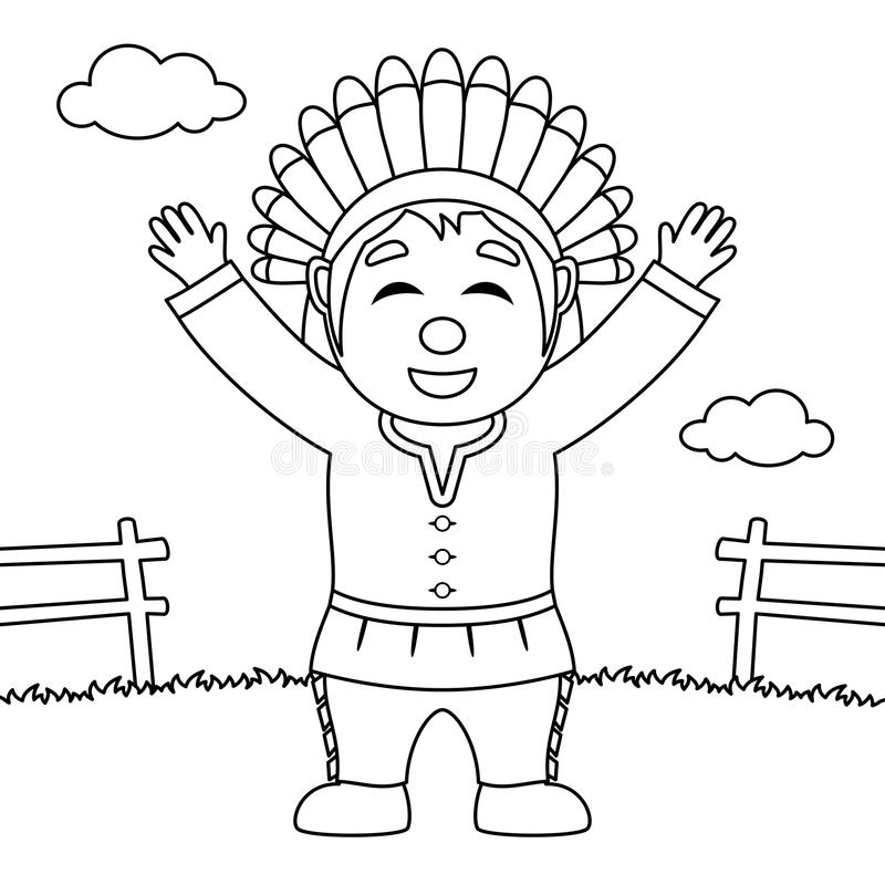 Homem nativo feliz da ação de graças da coloração ilustração royalty free