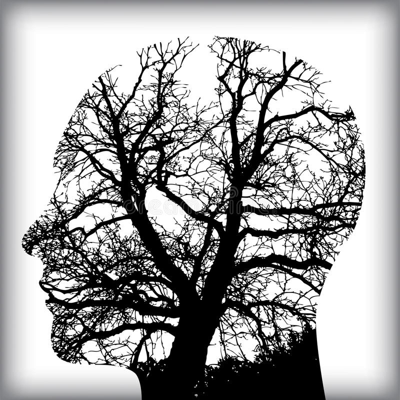 Homem natural na árvore para ilustração stock
