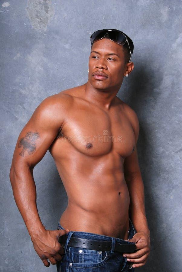 Homem negro atrativo. foto de stock royalty free