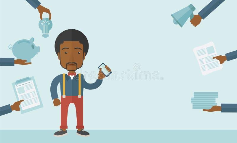 Homem negro com smartphone à disposição ilustração stock