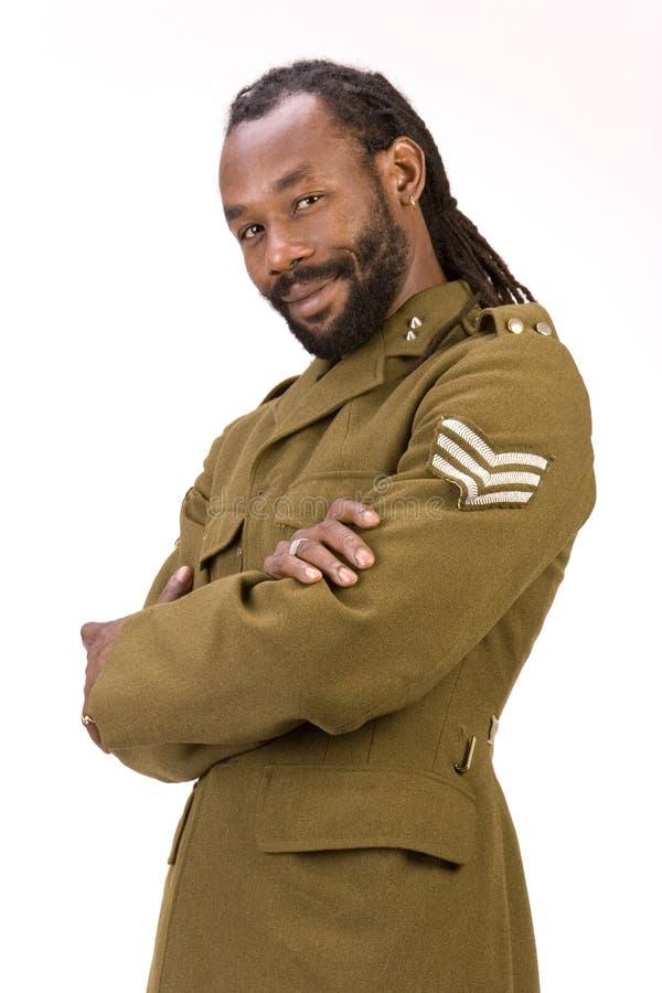 Homem negro do exército de Rasta fotos de stock