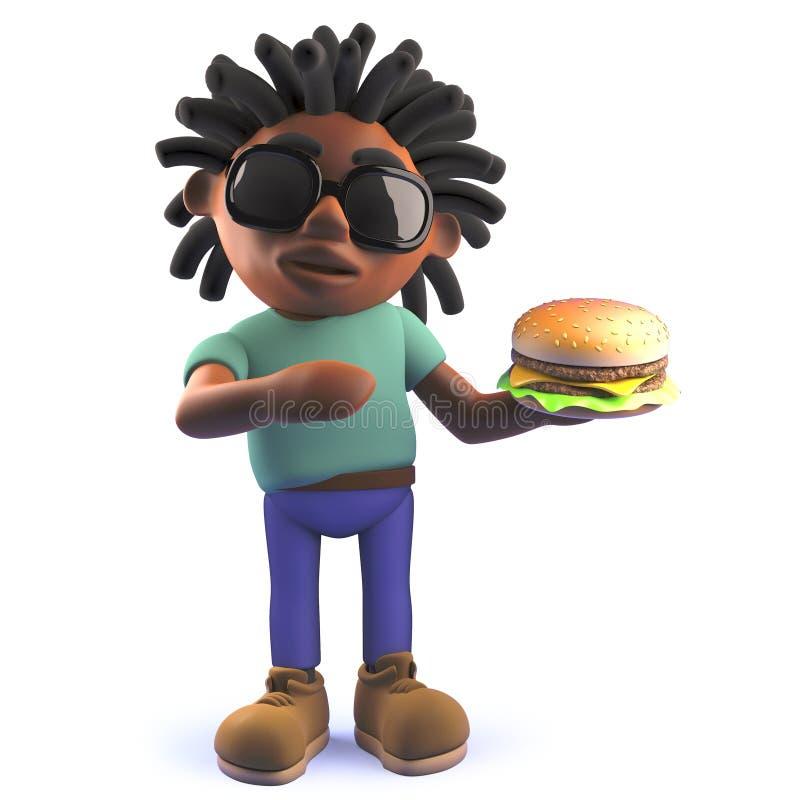 Homem negro dos desenhos animados com dreadlocks que come um cheeseburger, ilustração 3d ilustração stock
