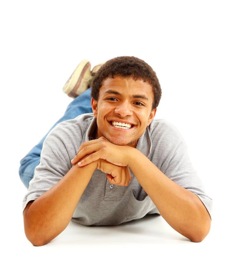Homem negro feliz foto de stock