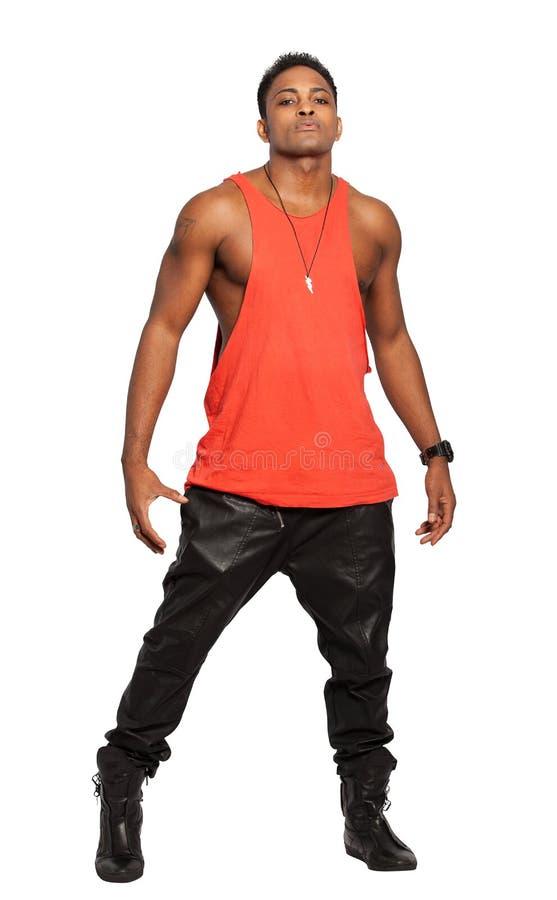 Homem negro muscular considerável Comprimento completo, no fundo branco fotografia de stock royalty free