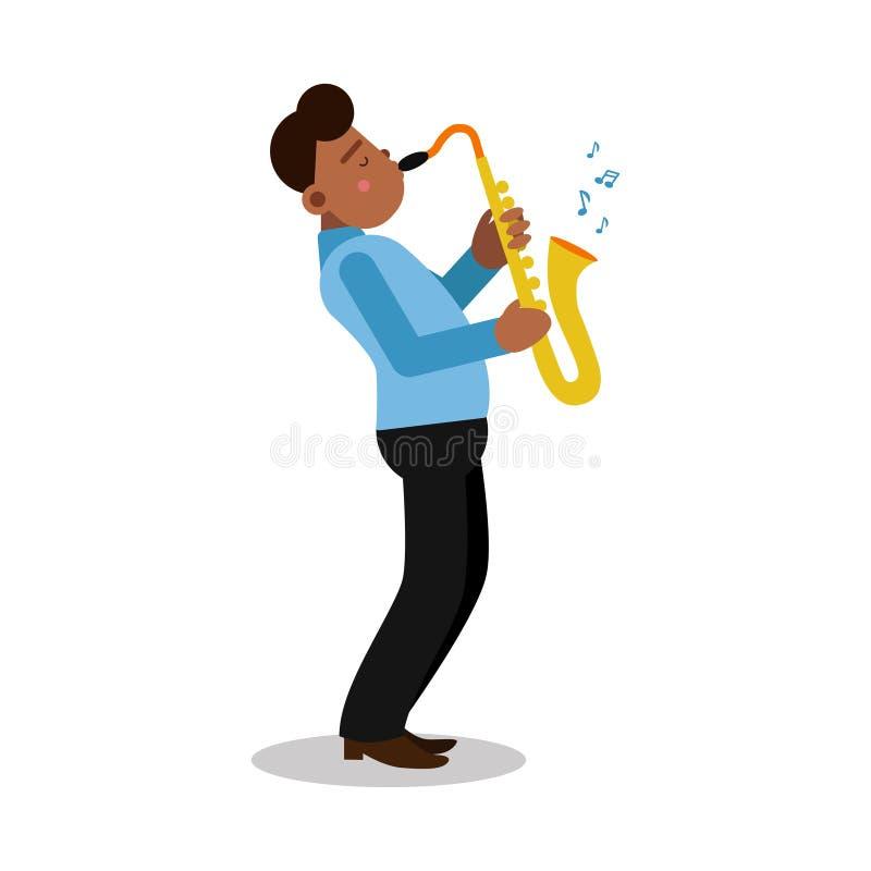Homem negro novo que joga o personagem de banda desenhada do saxofone, ilustração do vetor do jogador de saxofone ilustração royalty free