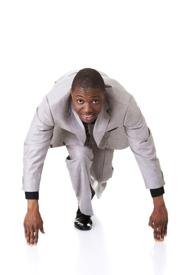 Homem negro pronto para começar imagens de stock royalty free
