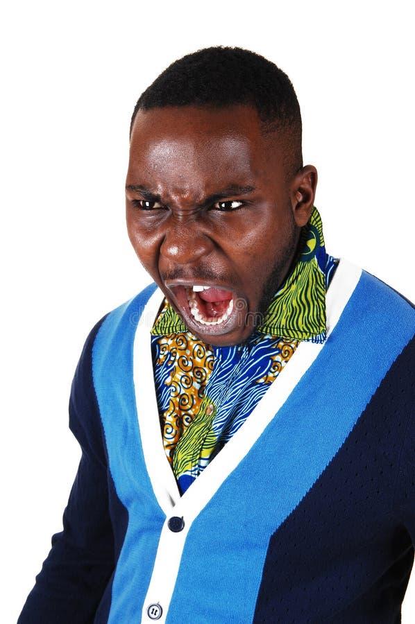 Homem negro que grita. imagem de stock royalty free