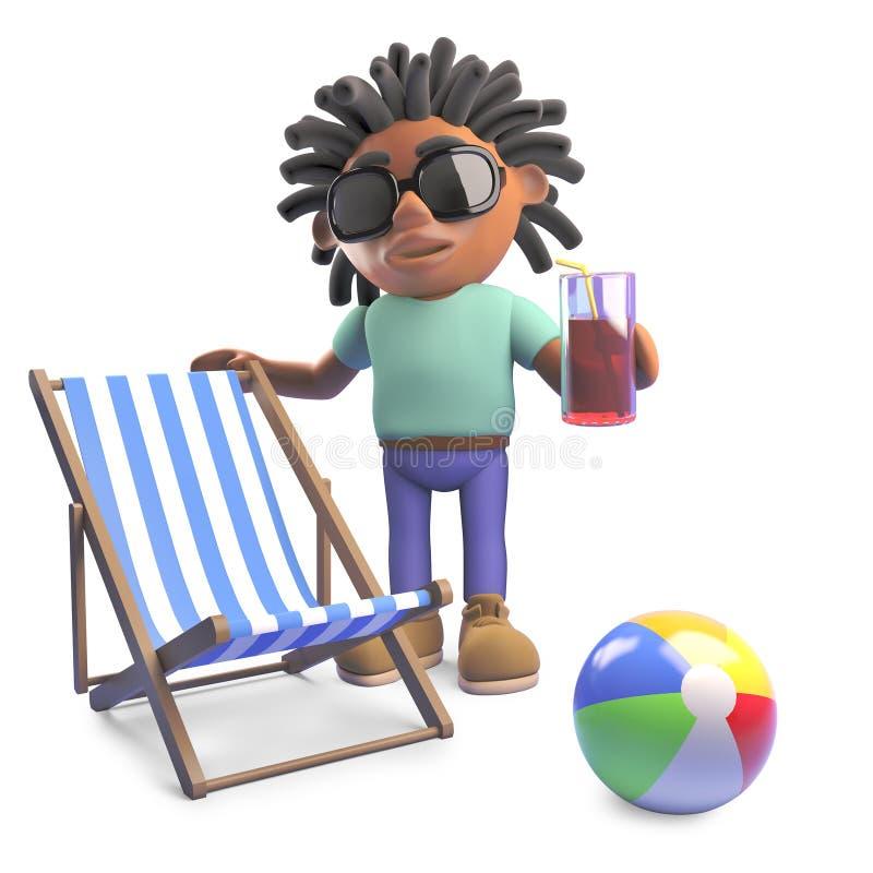 Homem negro relaxado com os dreadlocks no feriado com deckchair e bebida, ilustração 3d ilustração do vetor
