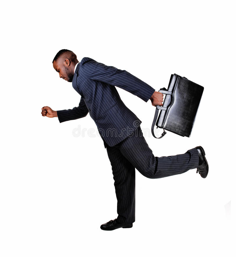 Homem negro running. imagem de stock