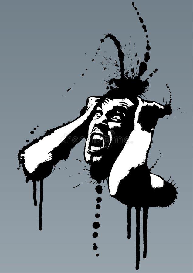Homem nervoso louco de Grunge que grita ilustração royalty free