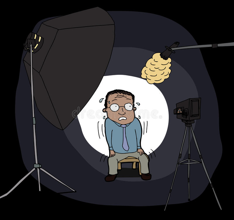 Homem nervoso na câmera ilustração royalty free
