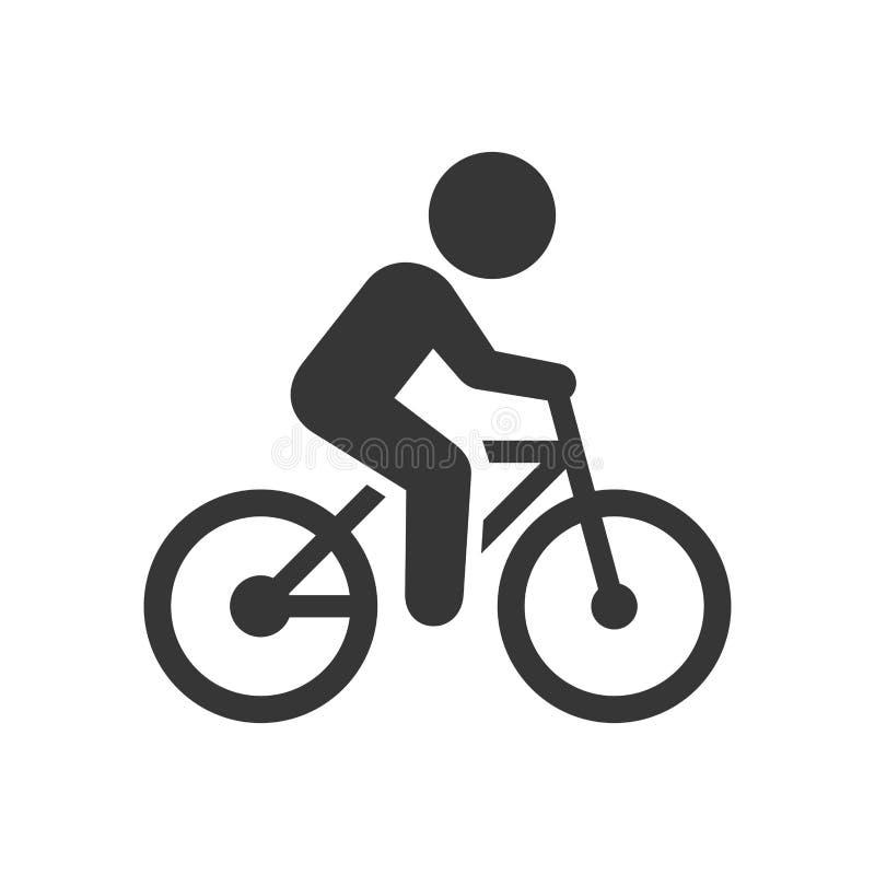 Homem no ícone da bicicleta ilustração do vetor