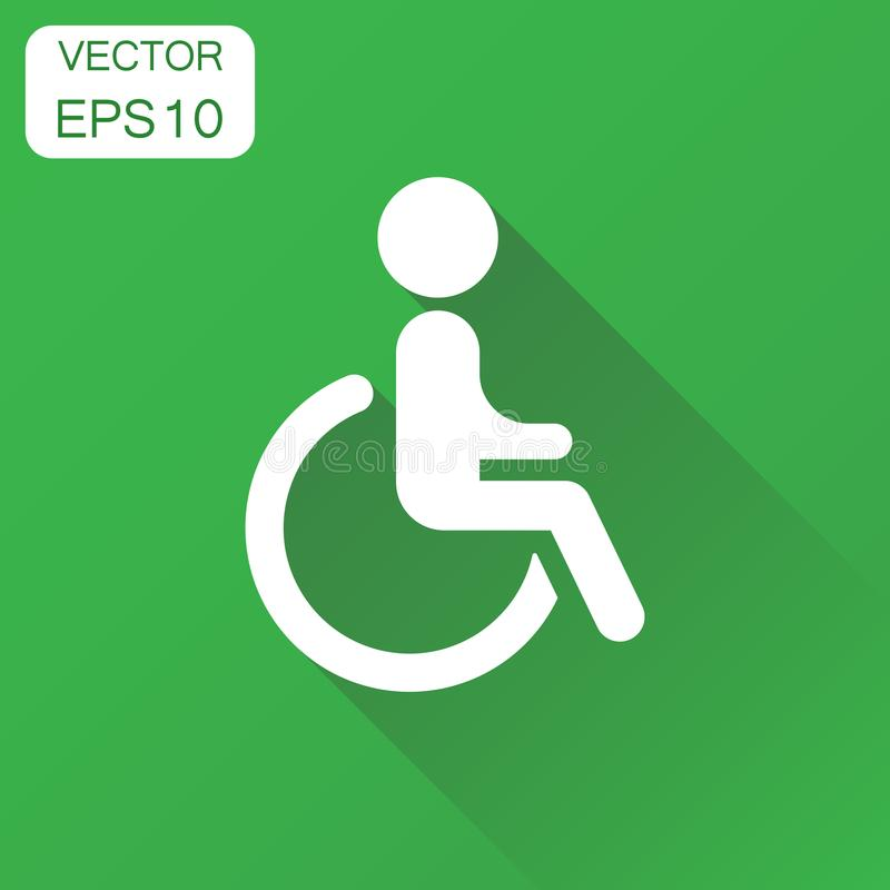 Homem no ícone da cadeira de rodas Peo inválido deficiente do conceito do negócio ilustração royalty free