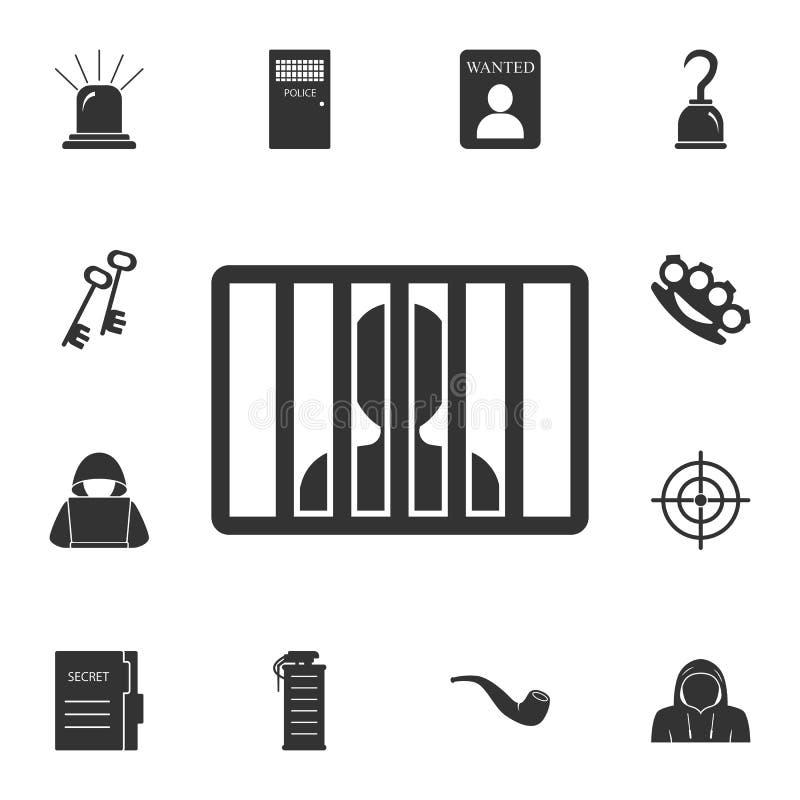 homem no ícone da prisão Ilustração simples do elemento Homem no projeto do símbolo da prisão do grupo da coleção do crime Pode s ilustração royalty free