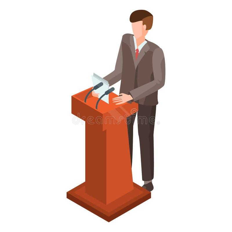 Homem no ícone do debate político, estilo isométrico ilustração stock