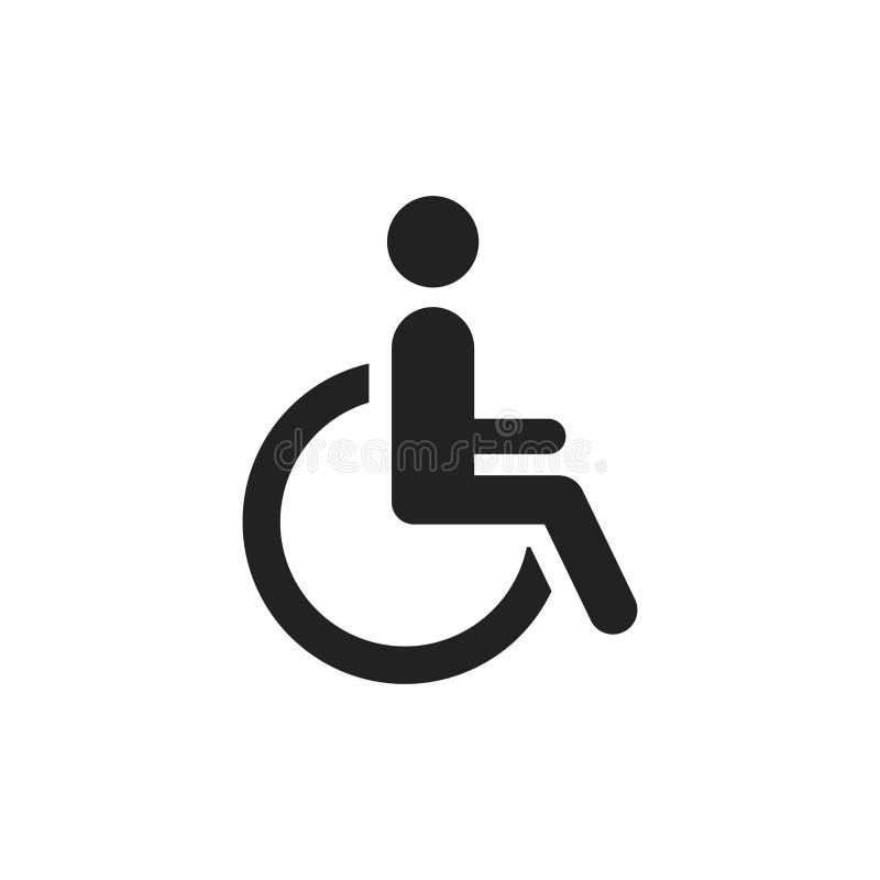 Homem no ícone do vetor da cadeira de rodas Sinal inválido deficiente dos povos mim ilustração do vetor