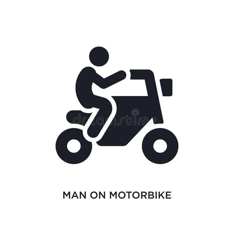 homem no ícone isolado velomotor ilustração simples do elemento dos ícones finais do conceito dos glyphicons homem no logotipo ed ilustração royalty free