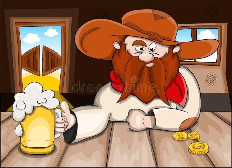Homem no bar com cerveja ilustração stock