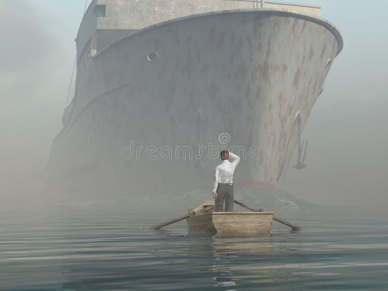 Homem no barco que olha na embarcação de aproximação ilustração stock