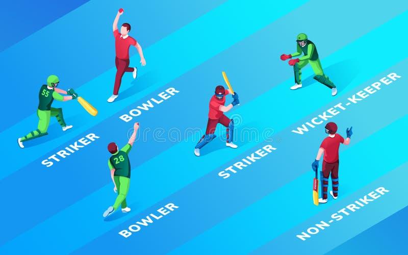 Homem no campo do críquete ou nas posições de breu ilustração royalty free