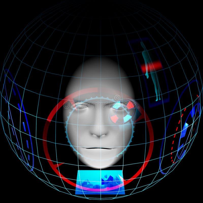 Homem no capacete esperto, exposição ascendente da cabeça, computação wearable, dispositivo vestindo, Internet das coisas, imagem ilustração stock
