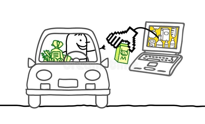 Homem no carro e no mercado do cyber ilustração stock