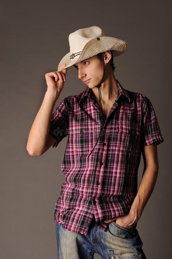 Homem no chapéu de cowboy imagens de stock