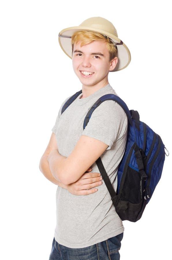 Homem no chapéu do safari imagens de stock royalty free