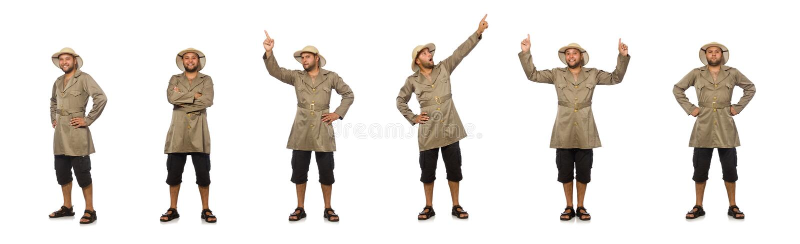 Homem no chap?u do safari isolado no branco fotografia de stock