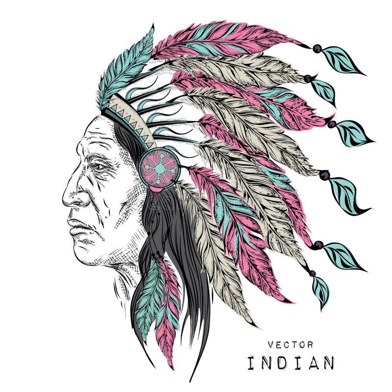Homem no chefe indiano do nativo americano Barata preta Mantilha da pena da águia Ilustração do vetor da tração da mão ilustração do vetor