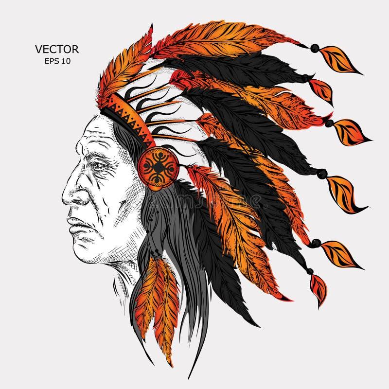 Homem no chefe indiano do nativo americano Barata preta Mantilha indiana da pena da águia Ilustração do vetor da tração da mão ilustração do vetor