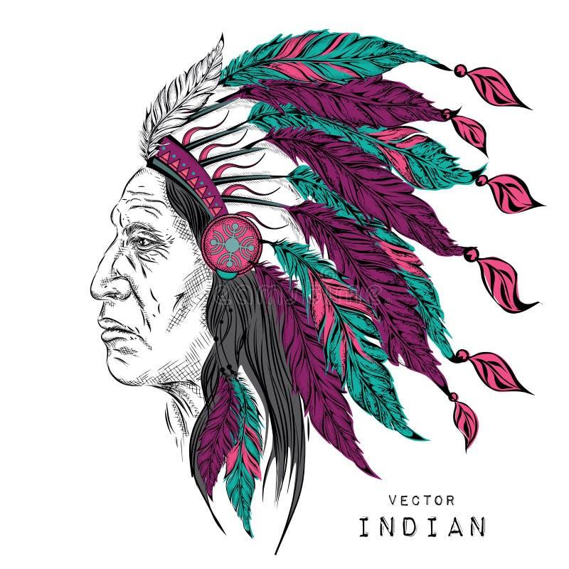 Homem no chefe indiano do nativo americano Barata preta Mantilha indiana da pena da águia Ilustração do vetor da tração da mão ilustração stock
