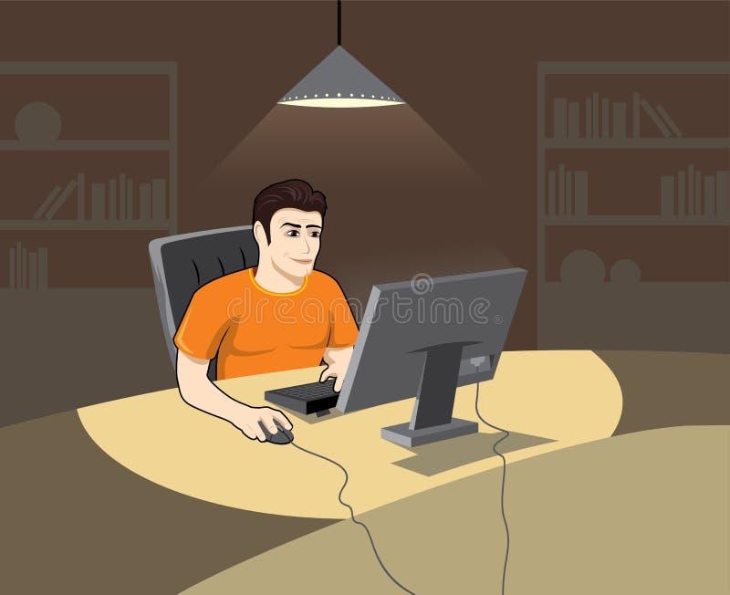 Homem no computador ilustração do vetor