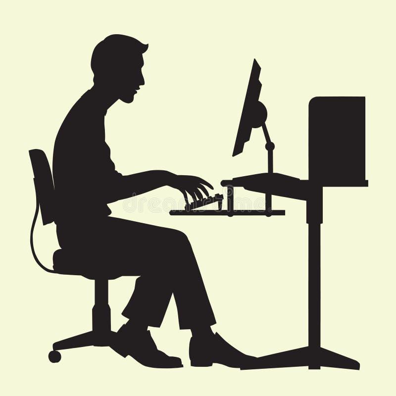 Homem no computador ilustração royalty free