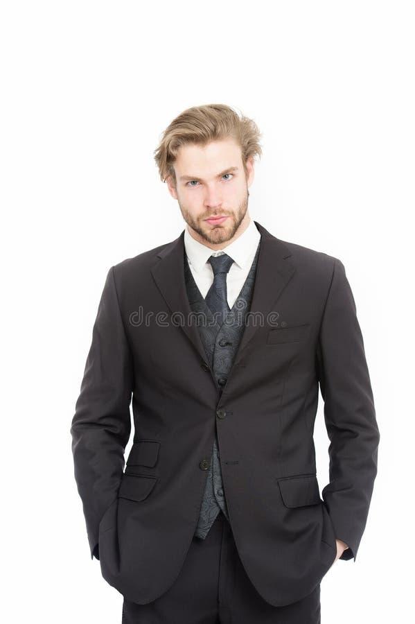 Homem no equipamento formal isolado no branco fotografia de stock