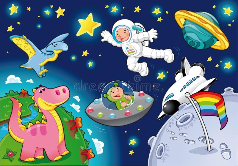 Homem no espaço. ilustração royalty free
