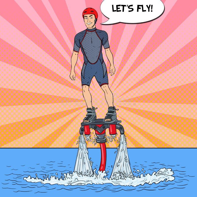 Homem no flyboard Esporte de água extremo Ilustração do pop art ilustração stock