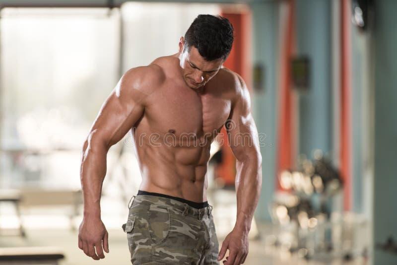 Homem no Gym que mostra seu corpo bem treinado fotos de stock