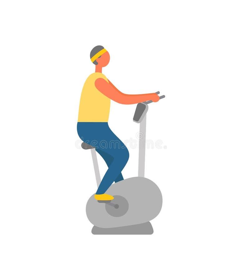 Homem no Gym usando o halterofilismo estacion?rio da bicicleta ilustração stock