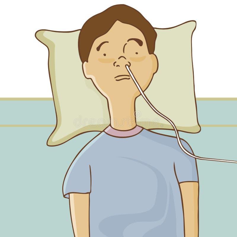 Homem no hospital com câmara de ar de alimentação ilustração do vetor