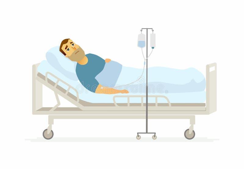 Homem no hospital em um gotejamento - ilustração dos caráteres dos povos dos desenhos animados ilustração stock