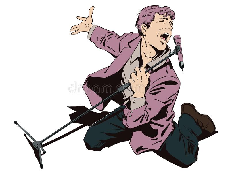 Homem no karaoke Cantor inspirado com microfone estoque ilustração stock