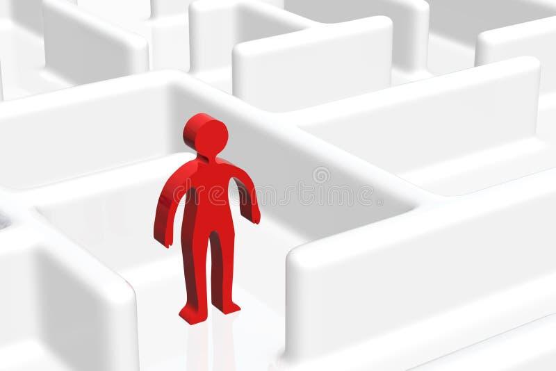 Homem no labirinto ilustração stock