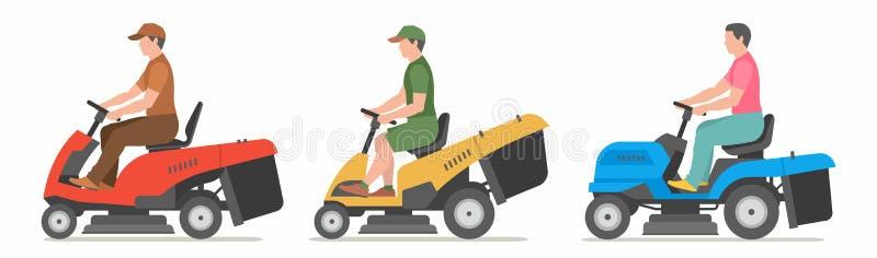 Homem no lawnmower do trator ilustração royalty free